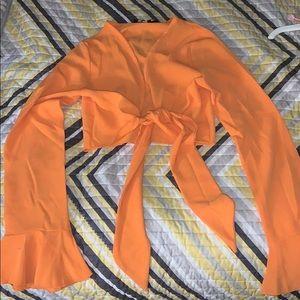 PLT tangerine tie front frill sleeve Blouse